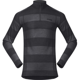 Bergans Fjellrapp Shirt met 1/2 rits Heren, solid charcoal/black striped